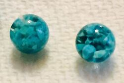 Pair Rare Vintage Blue Peruvian Floating Opal Snow Globes Replacements 1950's