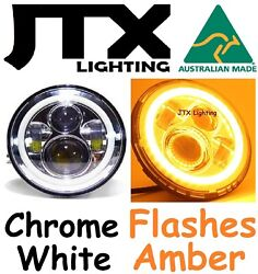 1pr 7 Led Chrome Headlights White Amber When Turning Land Rover Series 1 2 2a 3