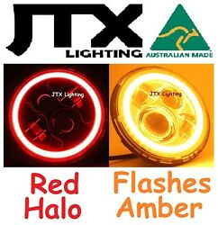 1pr 7 Led Headlights Red Flashes Amber When Turning Land Rover Series 1 2 2a 3