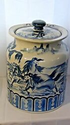 Early 20c Chinese Large Porcelain Lided Pot W/ 8 Running Horses On Landscape