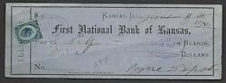First National Bank==kansas Il==1880=revenue Stamp