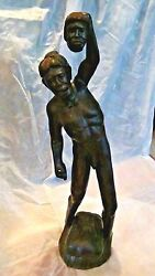 Antique 19c Equatorial Iron Wood Carved Statue Of The Warrior Victoriousdance