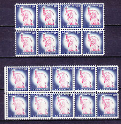 Usa 1954 Sc 1042 2 Blocks Of 8 And 10 With Printing Errors Variety