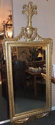Large Antique 19th Century French Gilt Wood Mirror Wood And Gesso Vintage Gold