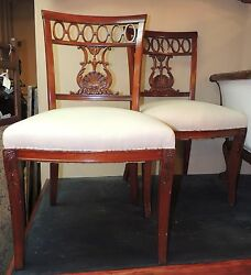 Pair Mahogany Side Chairs Exquisite Unusual Chair Muslin Wood Crest Lyre Shape