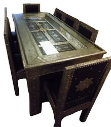 Silver Arabesque Design Dining Table With 8 Matching Chairs