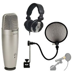 Samson C01U PRO USB Studio Condenser Microphone With CAD Audio EPF-15A Pop Fi...