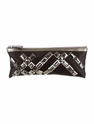 Burberry: Womens Embellished Satin Black Clutch