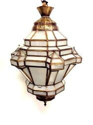 Moroccan Hanging Pendant Lantern Carved Brass And Frosted Glass Lamp Fixture