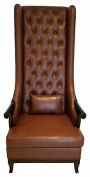 High Back Chair - Duchess High Back Wing Chair Upholstered In Brown Leather
