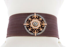 14k Rose Gold Women's Natural Diamond Brown Silk Mesh And Stainless Clasp Bangle
