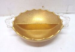 Lotus Glass Company Karat Quality Gold And Clear Glass Divided Candy Or Nut Dish