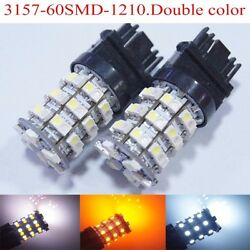 30 X T25 3157 3057 60SMD Dual Color Switchback White Amber Reverse DRL Brake