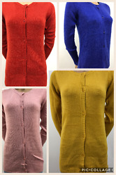 Ladies Blue Motion Soft Full Sleeves Front Button Round Neck Cardigan 339