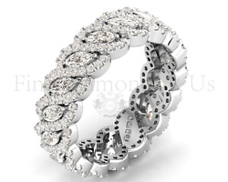 2ct Marquise And Round Brilliant Cut Diamond Eternity Ring18k White And Yellow Gold