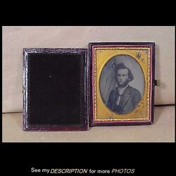 Antique 1/4 Plate Ambrotype Civil War Major Gen Charles Edward Hovey Double Side