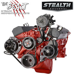 Black Chevy Small Block Serpentine Conversion Kit - Ac And Power Steering Lwp