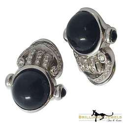 Daniel Stein Signed Large Antique Black Onyx And Diamonds Earrings