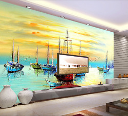 3d Sunset Fishing Boat 10 Paper Wall Print Wall Decal Wall Deco Indoor Murals