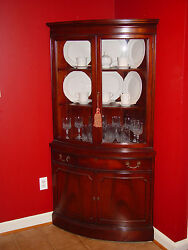 Antique 1930and039s Broyhill Mahogany Bow Front Corner Cabinet Qty 2