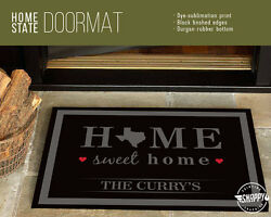 Home Sweet Home - Custom State & Name - Welcome Mat - DoorMat  Housewarming Gift