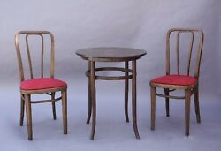 1910 Set Of Thonet Wood Chairs And Table Antique Vintage Furniture 9494