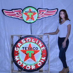 Lot Of 2 Steel Neon Signs In Cans 60 Texaco Wings Aviation Gas Motor Oil 36