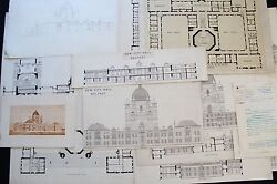 19th Cent. Architecture- Belfast City Hall Ireland - 15 Drawings prints letter