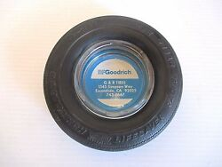 Vintage B F Goodrich Tire Advertising Ashtray - Glass And Rubber 6 Diameter