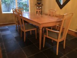 Ethan Allen Light Maple Dining Table, Chairs And Console Table- 6 Chairs, 2 Leaf
