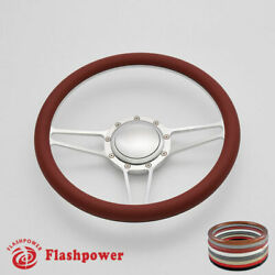 14and039and039 Billet Steering Wheels Burgundy Half Wrap Custom Chevy Ididit Flaming River