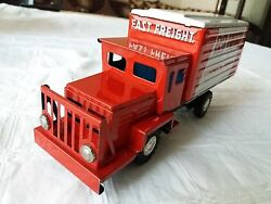 Vtg Rare Japan Modern Toys Tin Litho Friction Contin. Express Freight Truck Toy