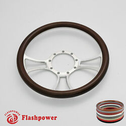 14and039and039 Billet Steering Wheels Walnut Wood Gmc Challenger Charger Daytona Ford