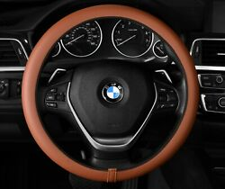 Tobacco Brown Steering Wheel Cover Stretch Fit Standard And D-shape Flat Bottom
