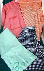 VINTAGE LOT 4 ASSORT GINGHAM 12 APRONS CHICKEN SCRATCH CROSS STITCH EMBROIDERY