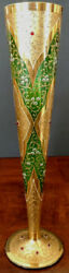 1880's Moser Art Nouveau Green Tall, Gold W/red Cabochons, Rare, Fine And Perfect