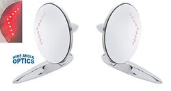 Side Rear View Mirrors Led Signals 1 Convex 1 Flat For 1955-1957 Chevy Bel Air