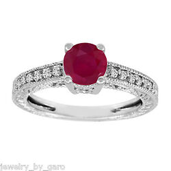 1.14 Carat Ruby And Diamonds Engagement Ring 14k White Gold Vintage Style Engraved