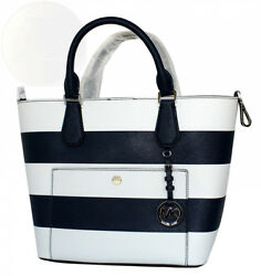 Michael Kors Greenwich Saffiano Stripe Large Leather Grab Bag - Navy  White