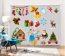 3d Christmas 3 Blockout Photo Curtain Printing Curtains Drapes Fabric Window Us