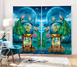 3d Peacock 12 Blockout Photo Curtain Printing Curtains Drapes Fabric Window Us