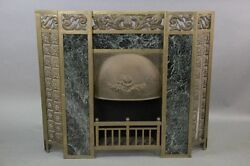 Early 1900s Fireplace Surround W Green Marble Antique Vintage Fire 10317