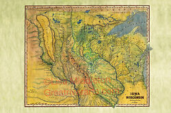 56 Iowa/wisconsin 1844 Vintage Historic Antique Map Painting Poster Print
