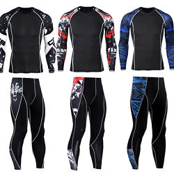 Mens Compression Outfits T-shirt Legging Gym Athletic Workout Set Gym Cool Dry