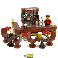Pub - Drinking Bar With Barman Drinks Wine And Beer Glasses   All Parts Lego