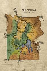 146 Yellowstone 1949 Vintage Historic Antique Map Painting Poster Print