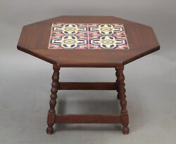 1920s Antique Wood Side Table W Vintage California Tiles Spanish Revival 10353