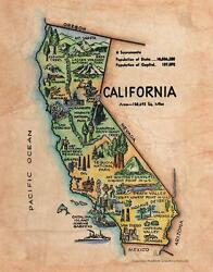163 Illustrated Map Of California C. 1950and039 Vintage Historic Antique Map Print