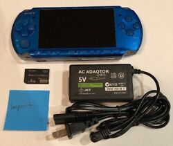 Vibrant Blue Psp 3000 System W/ Charger And Memory Card Bundle Tested Works Import