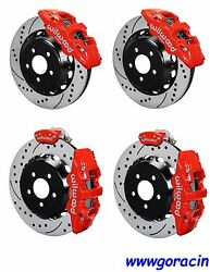 Wilwood Brake Kit Fits 2015-18 Ford Mustang14 Drilled Rotorsred Calipers